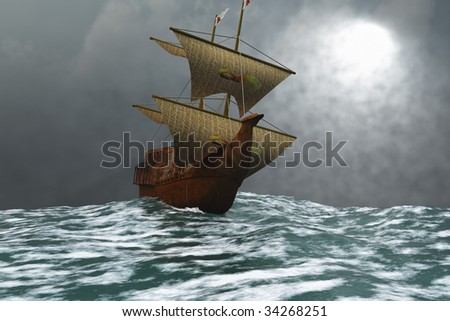 THE EAGLE - A sailing vessel navigates the ocean waves in stormy weather. - stock photo