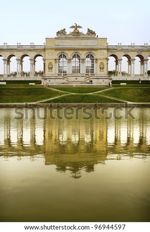 The Early Classicistic colonnaded Gloriette, Schonbrunn complex in Vienna - stock photo