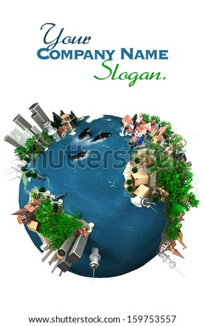 The Earth, a global village - stock photo