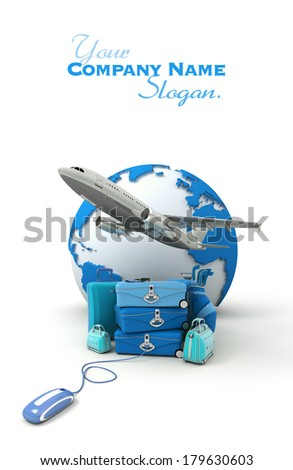 The Earth, a plane taking off, a pile of luggage including suitcases, briefcases, golf bag, connected to a computer mouse in blue shades  - stock photo