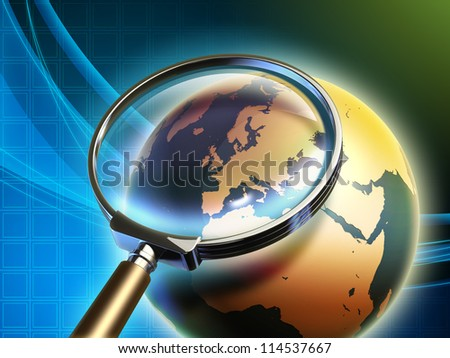 The Earth analyzed under a magnifying glass, with focus on Europe. Digital illustration, elements of this image furnished by NASA. - stock photo