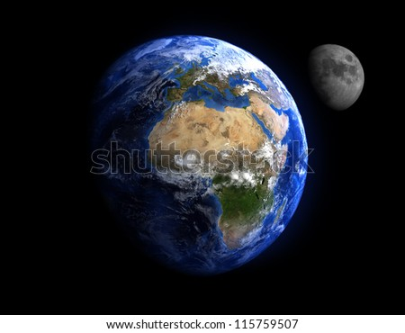 The Earth and the Moon. Extremely detailed image, including elements furnished by NASA. - stock photo