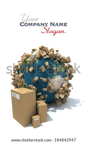 The Earth covered with brown carboard packages. The Earth texture comes from the Nasa free of use images - stock photo
