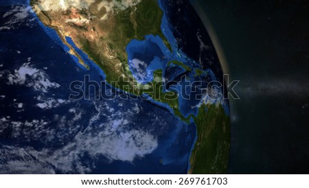 The Earth from space showing Central America - (Extremely detailed map furnished by NASA.) - stock photo