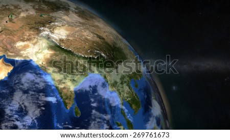 The Earth from space showing India - (Extremely detailed map furnished by NASA.) - stock photo