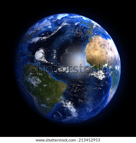 The Earth from space showing the Atlantic ocean and a hurricane. Elements of this image furnished by NASA. Other orientations available.  - stock photo
