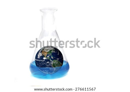 The earth in blue chemical laboratory , test tube, science and technology of the world  background  ,including elements furnished by NASA - stock photo