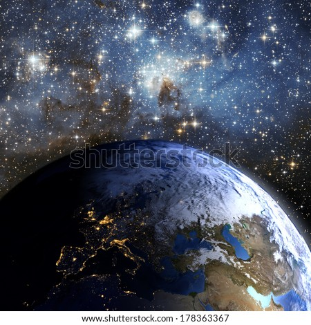 The Earth in space.  Elements of this image furnished by NASA. - stock photo