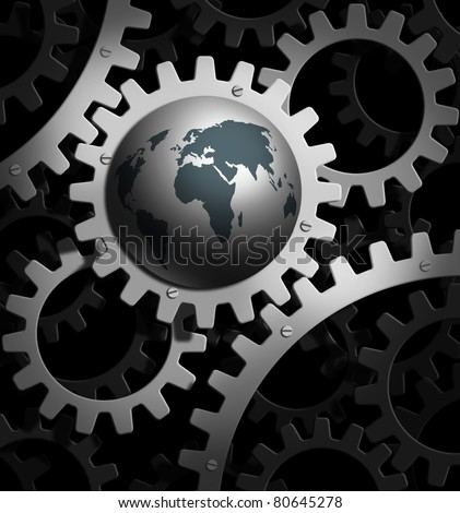 the earth  into a gear mechanism - stock photo