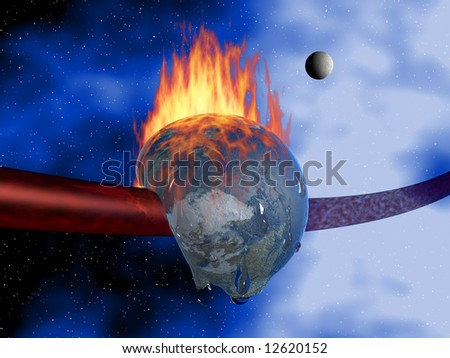 The earth is on fire and melting due to global warming - stock photo