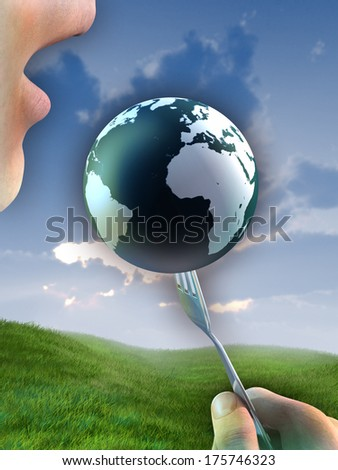 The Earth, lifted by a fork, is approaching a man's mouth. Digital illustration. - stock photo