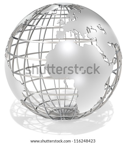 The Earth. The Earth, frame structure of steel. Shadow. - stock photo