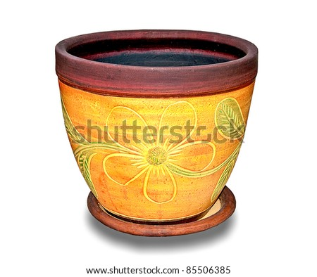 The Earthenware pot of flower pattern isolated on white background - stock photo