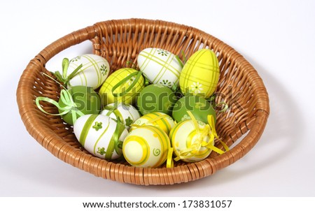 The Easter basket with painted eggs  - stock photo