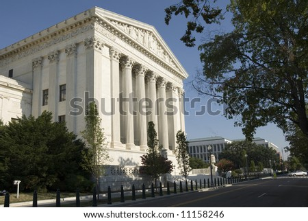 The eastern facade of the US Supreme Court in Washington, DC. - stock photo