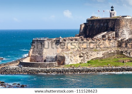 The edge and coastline of the El Morro Castle in San Juan, Puerto Rico - stock photo