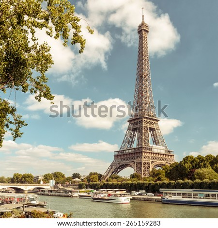The Eiffel tower from the river Seine in Paris, France - stock photo