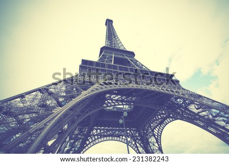 The Eiffel Tower in Paris, France.  Instagram style filtred image - stock photo