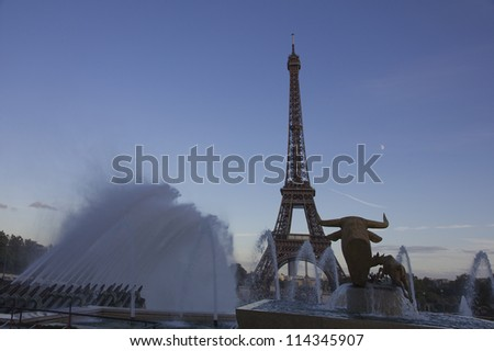 The Eiffel Tower in Paris in the late afternoon.Paris,France - stock photo