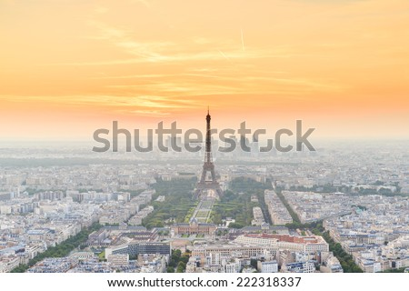 The Eiffel tower is the most visited monument of France. - stock photo