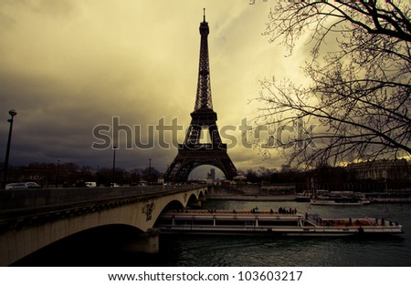 The Eiffel Tower . Paris - stock photo