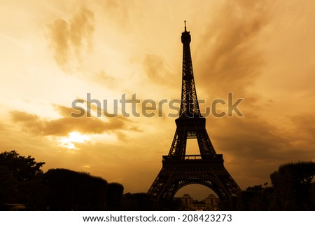 The Eiffel tower, Paris at sunset - stock photo