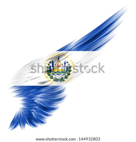 The El Salvador Flag on Abstract wing with white background - stock photo