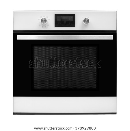 The electric oven on a white background. It is isolated, the worker of paths is present. - stock photo