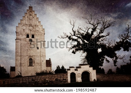 The Elmelunde church on the island Moen, Denmark, famous for its wall medieval paintings. - stock photo