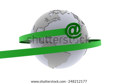 The email at-sign around the world. An email at-sign flies around the earth representing the internet. - stock photo