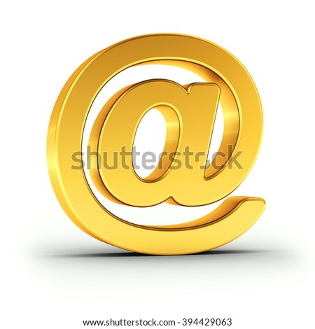 The Email symbol as a polished golden object over white background with clipping path for quick and accurate isolation. - stock photo