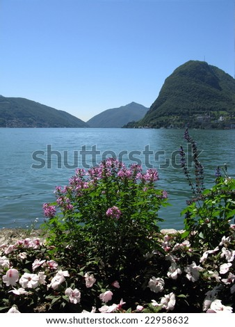 The Embankment in the Exotic Park of Lugano. Switzerland. - stock photo