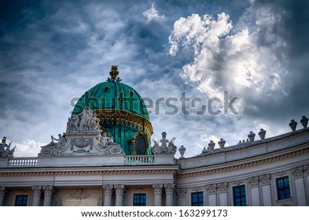 The emerald dome of Hofburg palace in Vienna, Austria. - stock photo