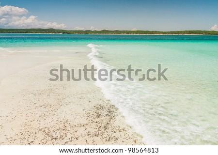 The emerald sea of Antsiranana bay (Diego Suarez), northern Madagascar - stock photo