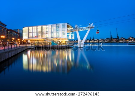 The Emirates Air Line, or the Thames cable car in London, England - stock photo