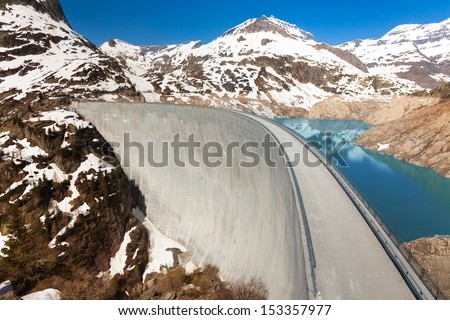 The Emosson hydroelectric Dam, 2000 meters above sea level near village of Chatelard, Swiss on the border with France - stock photo