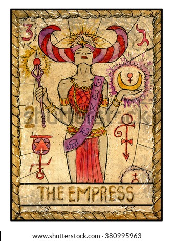 The empress. Full colorful deck, major arcana. The old tarot card, vintage hand drawn engraved illustration with mystic symbols. Beautiful woman or queen holding decorated wand and moon - stock photo