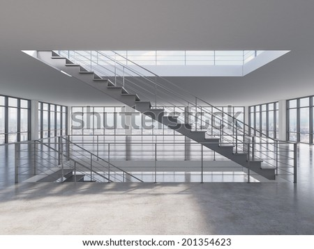 The empty apartment or office space with big panoramic windows and the stairs. - stock photo