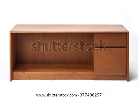 The empty(blank, vacant, hollow) square teak wood modern, minimal shelf(case) for books, record, computer, printer isolated white at the studio. - stock photo
