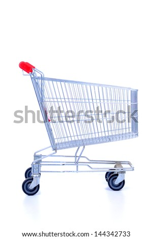 The empty cart for purchases on the white - stock photo