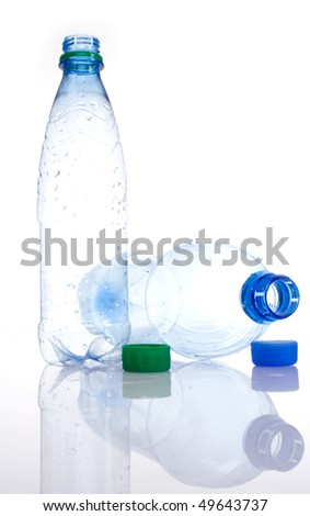 The empty plastic bottles. Isolated - stock photo