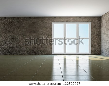 The empty room with big panoramic window - stock photo