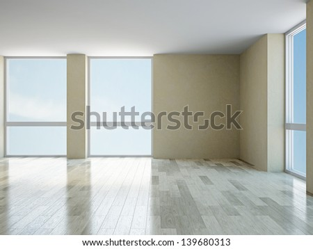 The empty room with big  panoramic windows - stock photo