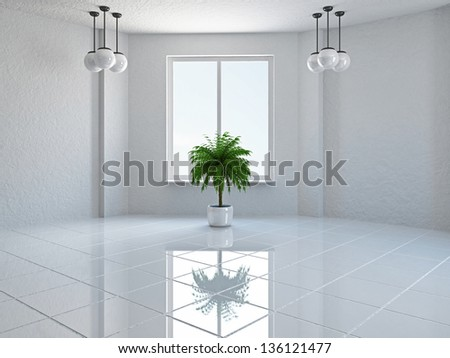 The empty room with plant and window - stock photo