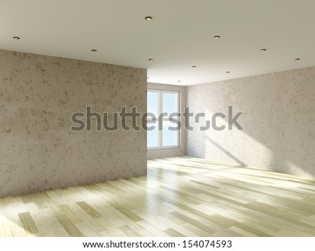 The empty room with plaster wall and a big  windows - stock photo