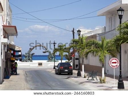 The empty streets of San Miguel resort town on Cozumel island (Mexico). - stock photo