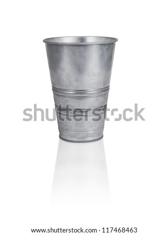 The empty zinc bucket a close up is isolated on white - stock photo