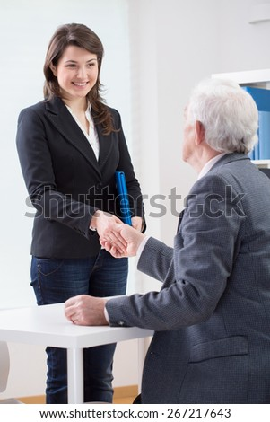The end of successful job interview, vertical - stock photo