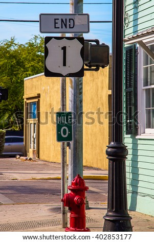 The end of the road number 1, Key West, Florida, USA. Zero mile USA. - stock photo