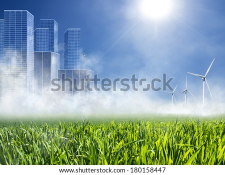 The energy of the future - Energy City - stock photo